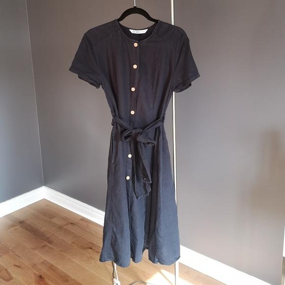 Zara navy linen dress